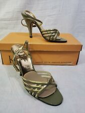 Vintage Kinney Strappy Green Gold Ankle Strap Heels size 5B Shoes 1950s-60s