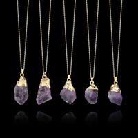 heilung crystal edelstein amethyst - anhänger halskette lange kette naturstein