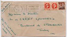 LETTRE ENVELOPPE AFFRANCHISSEMENT COMPOSE / ALGERIE / ALGER / TOULON 1946