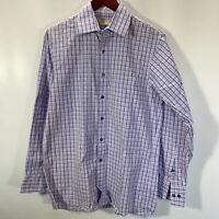 Michael Michael Kors Shirt Size 15 M Medium Button Front Purple Plaid Cotton