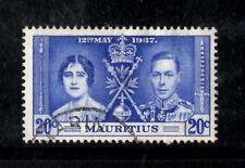 (Ref-10410) Mauritius 1937 Coronation 20c Bright Blue   SG.151  Used