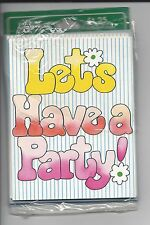 lot 8 vintage party invitations~groovy flowers~NEW Sealed~Drawing Board Dallas
