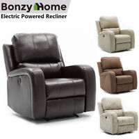 Electric Powered Recliner Chair Leather Sofa Overstuffed Back USB Charging Port