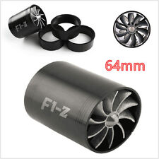 Black Air Intake Turbonator Dual Fan Turbine Turbo Supercharger Gas Fuel Saver