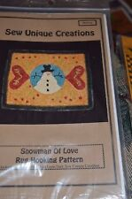 Sew Unique Creations Rug Hooking Pattern Snowman of Love 19x24