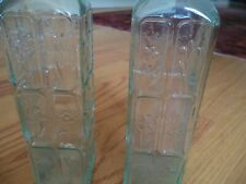 Pair Decorative Green Clear Bottles with Pressed Floral Flower detail