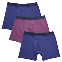 Kenneth Cole Men's 3 Pack Solid Navy Purple Navy Boxer Briefs (S02)