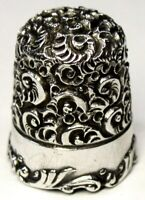 """Antique Ketcham & McDougall Sterling Silver Thimble  Heavy Chased """"Embroidery"""""""
