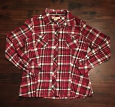 Natural Reflections Plaid Flannel Shirt Button Down Red white M Medium Ladies