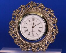 Vintage miniature filigree metalwork clock, working order H:60mm *[19726]