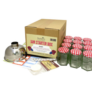 Jam-making starter box kit set 12 jars, labels, thermometer, funnel, wax discs