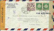 Suriname Sc#C5,#146(x2-perf 13) Paramaribo 3/4/44 WWII Censors Airmail