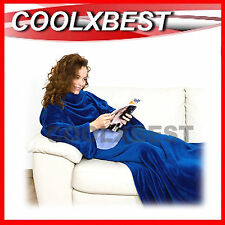 NEW COZY FLEECE BLANKET with SLEEVES BLUE AS SEEN ON TV - ONE SIZE FITS ALL