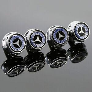 4PCS Car Metal License Plate Frame Screw Bolt Cap Covers Nuts For Mercedes-Benz
