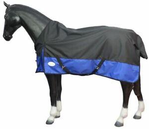 Lightweight Turnout Horse Rugs 1200D X-Tough Teflon Black/Blue 5'9 - 6'9