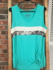 NWT CRAZY TRAIN HOT SHOT TANK TOP EX-LARGE TURQUOISE