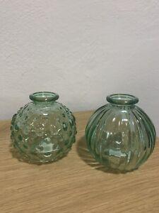 JDC Jodeco Glas 2 kleine Deko Glasflaschen/Vasen rund grün ca.9x8cm Neu
