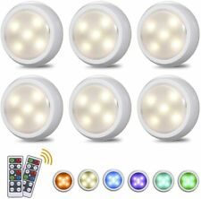 6X Dimmable Wireless LED Puck Light Under Cabinet Light Lamp Remote Control H3Z5