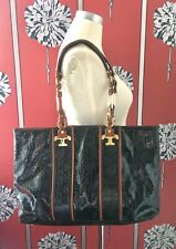 TORY BURCH LARGE CHAIN STRAP PATENT LEATHER TOTE SHOULDER BAG