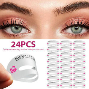 24Pcs Eyebrow Stencil Grooming Shaper Template Makeup Tools Stickers Card Hot