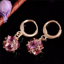 Fashion Colorful CZ Crystal Ball Dangle Earrings 18K Gold Plated Hoop Earrings