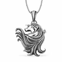 Stainless Steel Horse Head Pendant Necklace Jewelry Gift for Women Size 24''