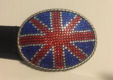 Union Jack British Flag Metal Belt Buckle Oval w/ Inset Stones with Black Belt