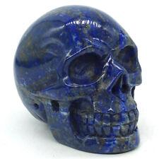 "2.8""Natural Lapis Skull Statue Carved Gemstone Figurine Halloween Decoration2352"