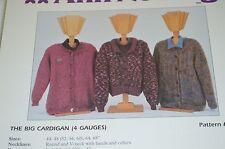 """Ann Norling Knitting Pattern Big Cardigan 44 to 68"""" in 4 gauges   #13"""