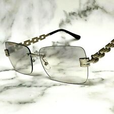 Clear Tinted Eye Glasses Sunglasses Rapper Designer Classy Chain Silver Gold NEW