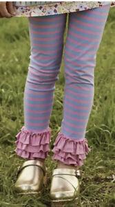 matilda jane La La Land Ruffle Legging Size 10 Pink And Blue Stripe Ruffle