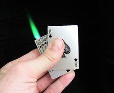 Refillable Green Flame Butane Poker Playing Card Deck Cigarette Lighter Jet Torc