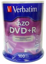 100 VERBATIM AZO Blank DVD+R 16X Branded 4.7GB  Disc 100pk Spindle 95098
