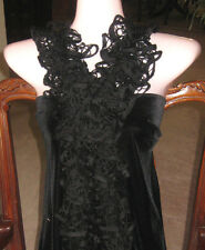 Hand KNITTED RUFFLE SCARF Fashion Starbella WOMEN'S ACCESSORY Black