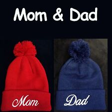 Mom & Dad The Cutest Hats for Parents Ever! Pom Pom Beanie Hats Christmas Gift!!