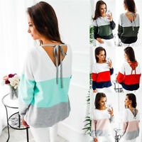 Size S-XXL Fashion Women Long Sleeve Top Blouse Shirt Ladies Casual Lace Up Tops