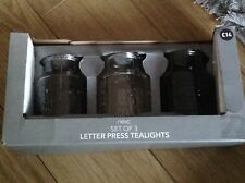 NEXT SET OF 3 LETTER PRESS TEALIGHTS BRAND NEW IN BOX