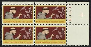 #2023 20c Francis of Assisi, Plate Blk [A111111 UR] Mint **ANY 4=FREE SHIPPING**