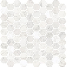 In Home NH2359 Hexagon Faux Marble Peel  Stick Backsplash Tiles, White  Off-Wh