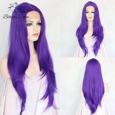 Synthetic Lace Front Wig Purple Color Long Wavy Hair Hand Tied Wig For Women