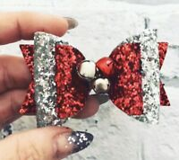 Jingle Bells Christmas Glitter Hair Bow, Red And Silver Large dolly Bow