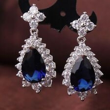 Vogue sapphire 18k white gold filled Unique design party dangle earring