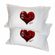 2 Pillowcases I love You heart design personalised names  ideal Valentines Gift