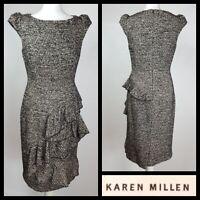 Karen Millen Cream Black Tweed Wool Blend Ruffle Smart Dress Size 12