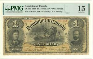 "Canada $1 Dollar ""Inward Ones"" Banknote 1898 - Scarce Variety PMG 15 Choice Fine"