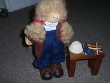 """Longaberger Exclusive, 2003 Lizzie High Doll,""""Megan"""" Weaving A Basket, Pre-Owned"""