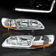 For 98-02 Honda Accord 2/4Dr DRL LED Chrome Housing Headlights W/Amber Reflector