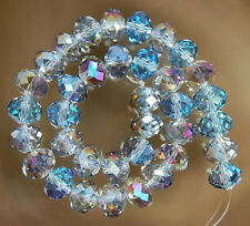 70pc 6X8mm Multicolor AB Crystal Faceted Gems Rondelle Loose Beads