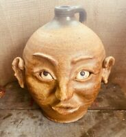 Kevin Haney Red Dog Stoneware Pottery Grotesque Face Jug - Southern Folk Art