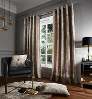 Catherine Lansfield Luxury Crushed Velvet Curtains Eyelet Natural